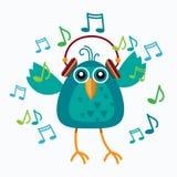 Bird Listen Music Wear Headphones Dancing Notes Royalty Free Stock Photography