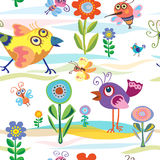 Bird, little, summer, spring, vector, pattern. Summer, spring, pattern with birds Royalty Free Stock Photography