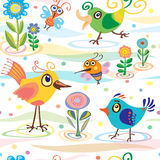 Bird, little, summer, spring, vector, pattern. Summer, spring, pattern with birds Royalty Free Stock Images