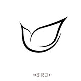 Bird Logo design vector template linear style. Stylized flying birds sign. hand drawn vector illustration Royalty Free Stock Photo