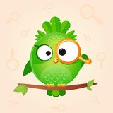 Bird loop. Illustration of a cute and funny bird looking through a magnifying glass Royalty Free Stock Image