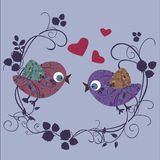 Bird in love. Background - stylised colorful vector illustration royalty free illustration