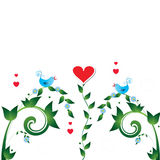 Bird_love. Two birds ,  love  and Heart flowers Royalty Free Stock Photography