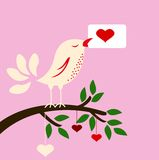 Bird with love card for you design Royalty Free Stock Photo