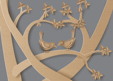 Bird in love. Cardboard with love Birds perched on a branch of a tree forming a heart shape royalty free illustration