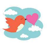 Bird with love heart Stock Images