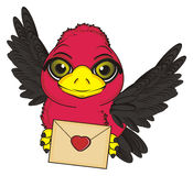Bird and love message. Cute bird fly and hold an envelope with red heart Stock Photo