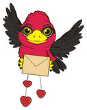 Bird and love objects. Little bird fly and hold a message with many red hearts Stock Images