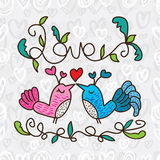 Bird love want kiss frame seamless pattern Royalty Free Stock Images