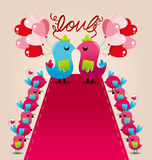 Bird love wedding card Stock Image