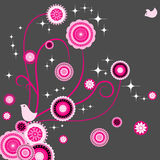 Bird lover with seamless paisley flower stock photo