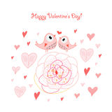 Bird lovers. Pink love bird with a flower on a white background with hearts Royalty Free Stock Photography