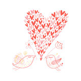 Bird lovers. Graphic bird lovers with a decorative heart Stock Photography