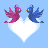 Bird lovers. Two cute bird lovers on heart shaped cloud Stock Image