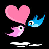 Bird lovers. Two cute bird lovers on pink heart shaped Royalty Free Stock Images
