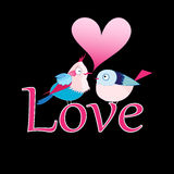 Bird lovers. Graphic lovers bright birdies on the word love on a black background Stock Image