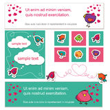 Bird lovers on Valentine s Day. Cute banners , backgrounds and cards Stock Photo