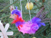 Bird, made from feathers. Christmas decoration Royalty Free Stock Photography