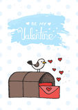 Bird mail cartoon cute illustration in  Royalty Free Stock Images
