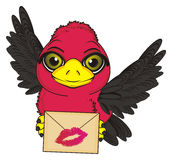 Bird and mail. Bird fly and hold an envelope with pink kiss on it Royalty Free Stock Images