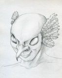 Bird - man face sketch Stock Photos