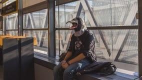 Bird man posing at Games Week 2014 in Milan, Italy Stock Image