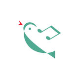 Bird melody - vector logo concept illustration. Minimal style. Music logo concept. Vector logo template Royalty Free Stock Images