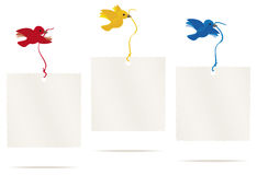 Bird message. Birds flying with message cards, with space for text Royalty Free Stock Images