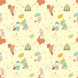 Bird migration, seamless pattern. Seamless pattern with little birds and luggage Stock Photography