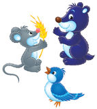 Bird, mole and mouse. High resolution clip-arts: mouse holding an ear of wheat, smiling mole and blue bird Stock Photo