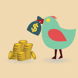 Bird with money bag & coins Stock Images