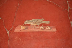Bird mural in the Roman Villa Poppaea, Italy Stock Photos