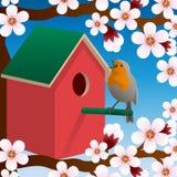 Bird near birdhouse. Blossoming spring tree. Spring. Vector. Bird near birdhouse. Blossoming spring tree. Spring. Vector illustration Royalty Free Stock Photos