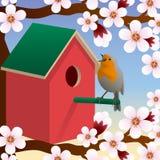 Bird near birdhouse. Blossoming spring tree. Spring. Vector. Bird near birdhouse. Blossoming spring tree. Spring. Vector illustration Stock Photo