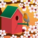 Bird near birdhouse. Blossoming spring tree. Spring. Vector. Bird near birdhouse. Blossoming spring tree. Spring. Vector illustration Stock Photography