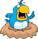 Bird in a Nest. A cartoon blue bird in a nest Royalty Free Stock Photos