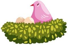 Bird and nest. Illustration of isolated bird and nest on white background Royalty Free Stock Photo