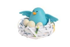 Bird nest. Sculpture bird & nest made from recycle paper Stock Photos