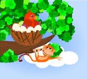 Bird Nest. Illustration of a bird sitting on eggs in a nest on a tree limb. With an orangutan hanging off the tree limb royalty free illustration