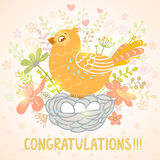 Bird and Nest. Beautiful card with cute cartoon bird and nest on a floral background Stock Photo
