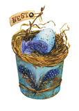 Bird nest with blue egg in a rusty metal buckets, home decor for Easter. Hand-drawn watercolor illustration stock illustration