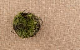 Bird Nest on Burlap Background Stock Image