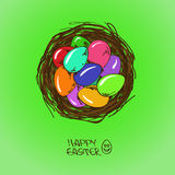 Bird nest with Easter eggs. Easter greeting card with colorful cartoon eggs in bird nest Royalty Free Stock Images