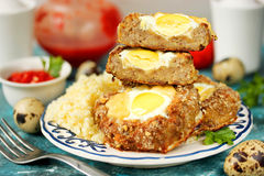 Bird nest Easter recipe - meat nests , baked minced meat cutlet Stock Photo