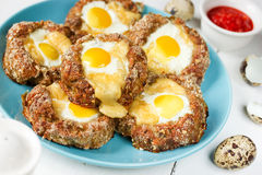 Bird nest Easter recipe - meat nests , baked minced meat cutlet Royalty Free Stock Images