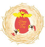 Bird nest and egg for Easter greeting card Royalty Free Stock Image