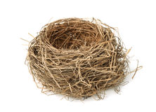 Bird nest. Empty bird nest isolated on white stock photo