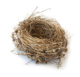 Bird nest isolated on white Royalty Free Stock Photos