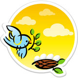 Animated mother bird and eggs in nest vector sticker.  Stock Images