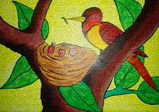 Bird nest painting on canvas created background design. As abstract wallpaper stock image